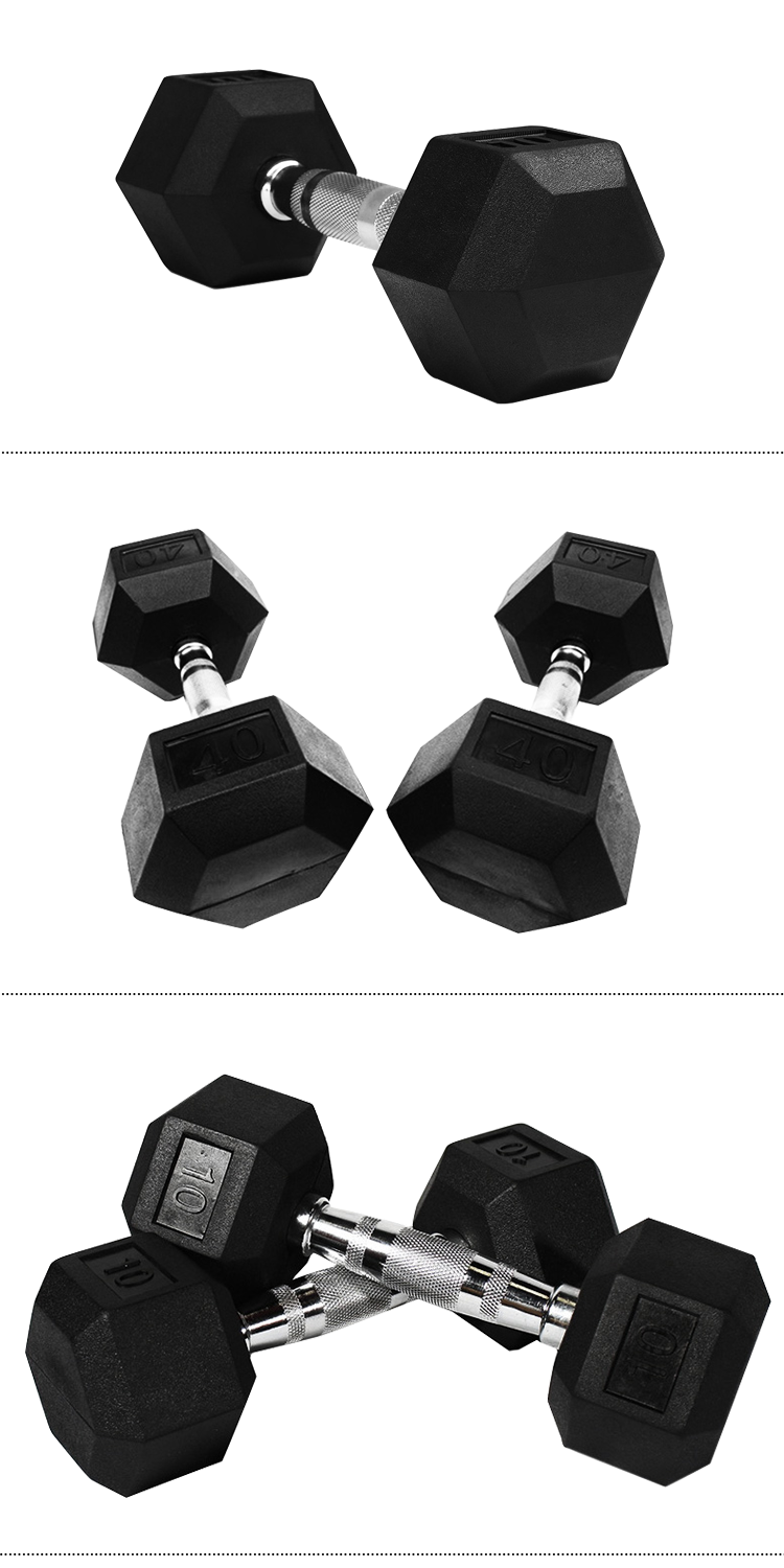 Cross Fitness Gym Equipment Rubber Coated Hex Dumbbell Factory Directly Sale