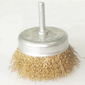 Brass Coated Crimped Wire Cup Brush with 1/4 inch Hex Shank