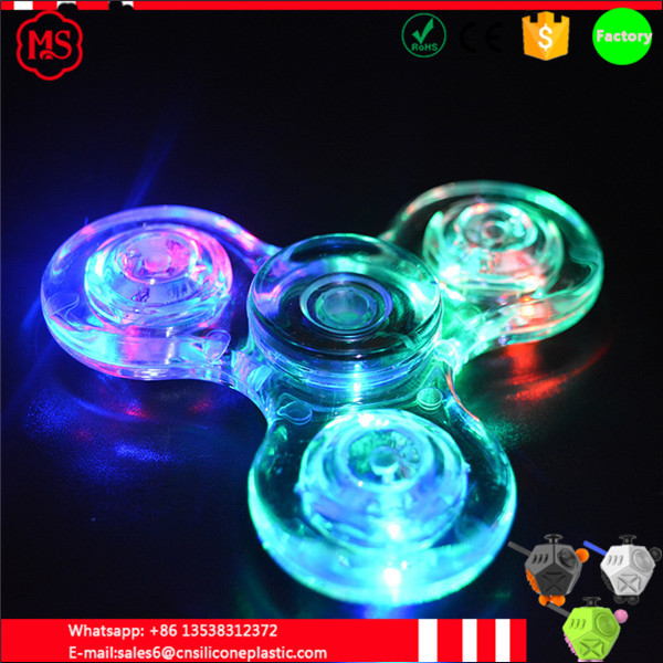 Transparent Crystal Plastic LED Light up Hand Spinner Fidget Spinner