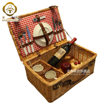 KINGWILLOW, Picnic wicker basket 2 person picnic set