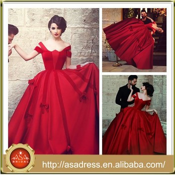 Sma13 Vintage Dubai Colored Taffeta Off Shoulder Red Top Designer Wedding Dresses
