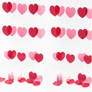 Wedding Party Supplies Red Heart Garland Banner Bunting for Romantic Valentines Day Bridal Shower Decoration Wholesale