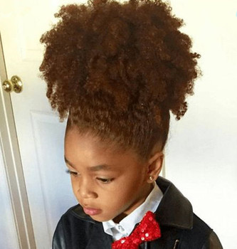 Kinky Curly Ponytail Human Hair For Kids Afro Natural Puff Hair Ponytail  Wigs Afro Kinky Curly bc52e005231