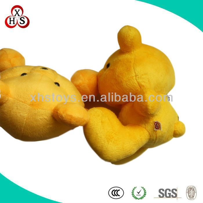 soft plush stuffed golf ball bear /yeollow plush stuffed bear with Lovely expression/18cm multifunction plush stuffed toy