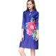 Hot Sales European Floral Print Pleated Dress Plus Size Lady Clothes