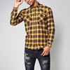 2018 Latest design wholesale custom mens flannel shirts plaid in yellow