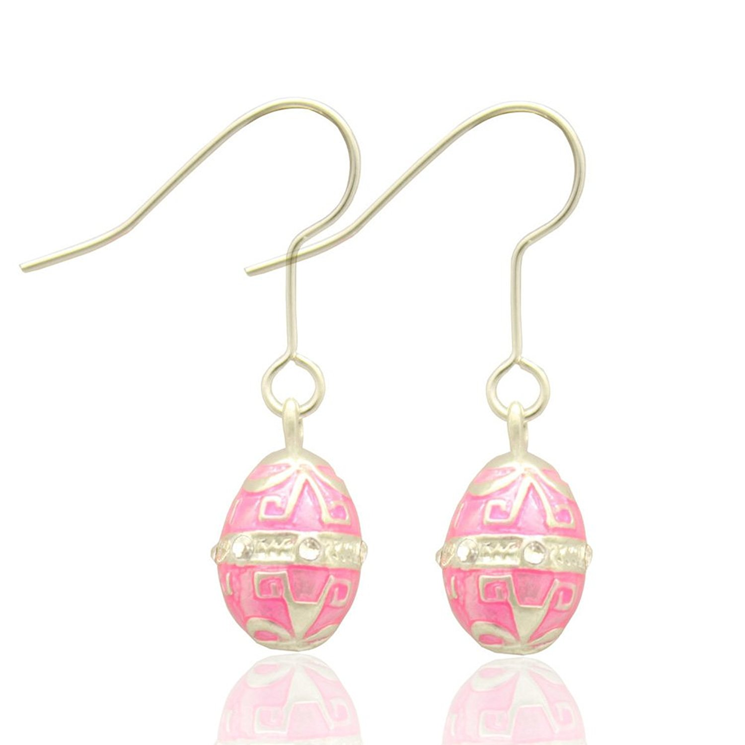 MYD Jewelry Multicolor Enameled Faberge Egg Easter Egg Drop Earrings and Pendant Necklace Sets for Ladies