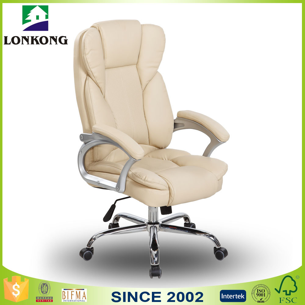 High Back Swivel Tilt Mechanism White Leather Office Chair