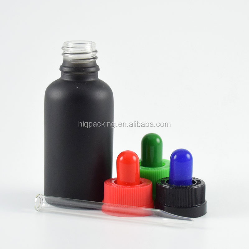 trade assurance essential oil frosted black glass bottle 30ml child proof tamper cap, eliquid glass bottle 30 ml