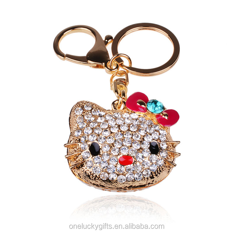Fashion Alloy cat rhinestone keychains / girls jewelry phone Strap
