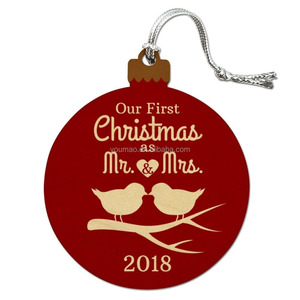 Our First Christmas as Mr and Mrs 2018 Married Kissing Birds Red Background Wood Christmas Tree Holiday Ornament