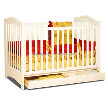 White Color Nontoxic Painting Wooden Baby Crib/baby Crib Supplier