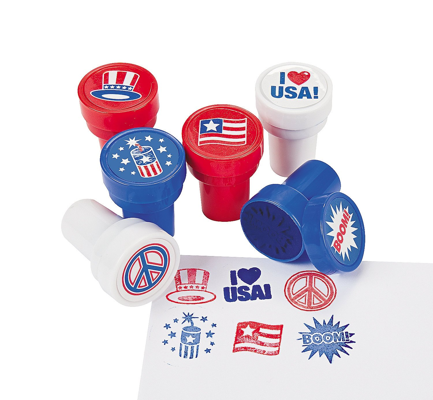 24 Piece Patriotic 4th of July Stamper Party Favor Supplies Assorted For Kids Arts and Crafts