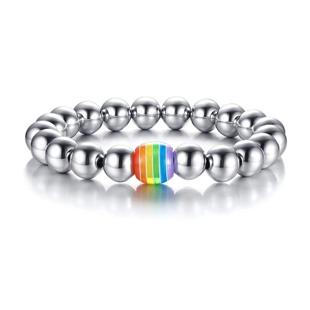 LiFashion LF Stainless Steel Gay Pride Bracelet Catholic Rosary Beads Chain Rainbow Pride Ball Bracelet for Gay Lesbian LGBT for Wedding Engagement Promise Birthday Gift