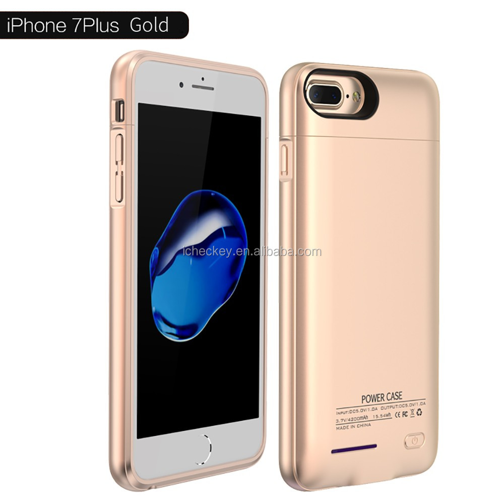 Rose Golden Ce Rohs Hot Sale Large Battery Phone Case For Iphone 7