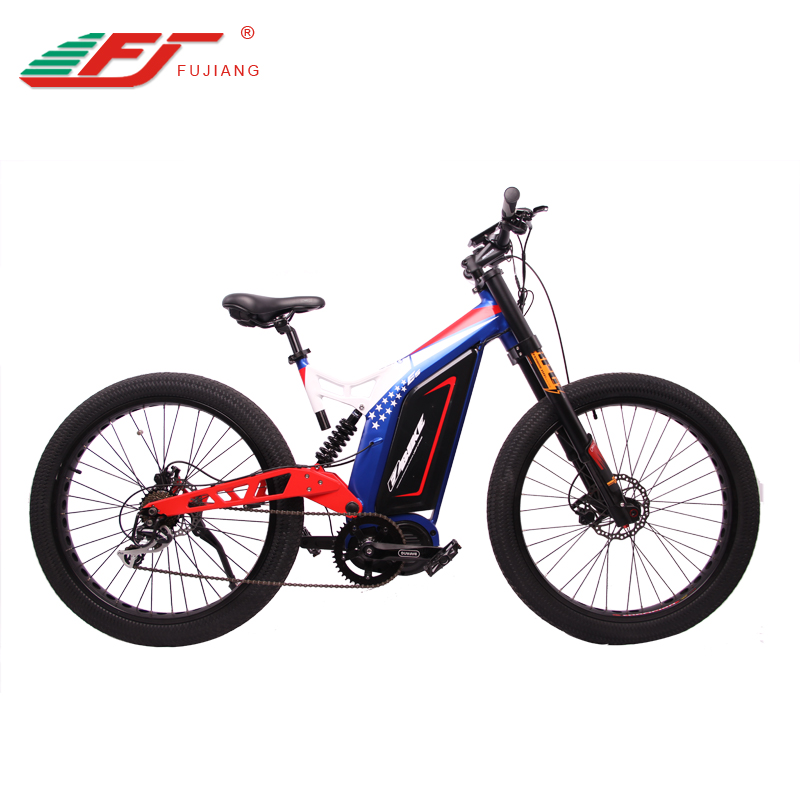 Bafang mid drive 48V 1000W full suspension electric mountain bike 2019  Enduro electric bicycle