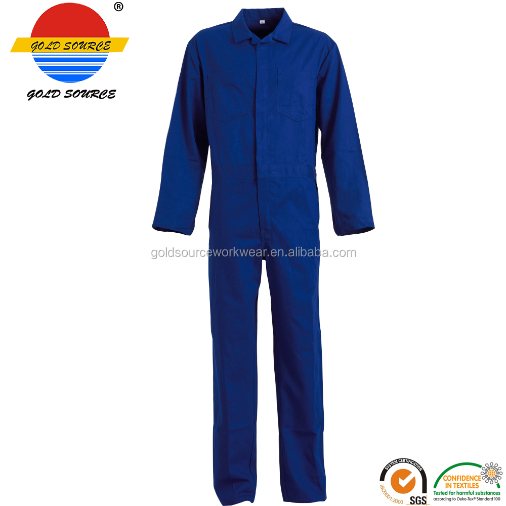 100% Cotton Flame Resistant Clothing Over Suit for Work Blue Fire Retardant Coverall