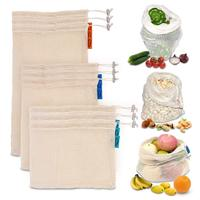 100% COTTON MESH NET PRODUCT BAG SELF PACKAGING POUCH FOLDABLE FOR VEGETABLES 100% ORGANIC COTTON REUSABLE MESH DRAWSTRING BAG
