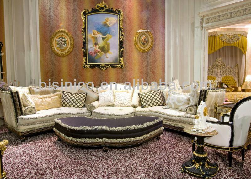 européen canapé de salon classique en bois avec tissu ...