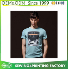 Trendy Mens 180gsm 100% Combed Cotton Rubber Printing Round Neck T Shirt