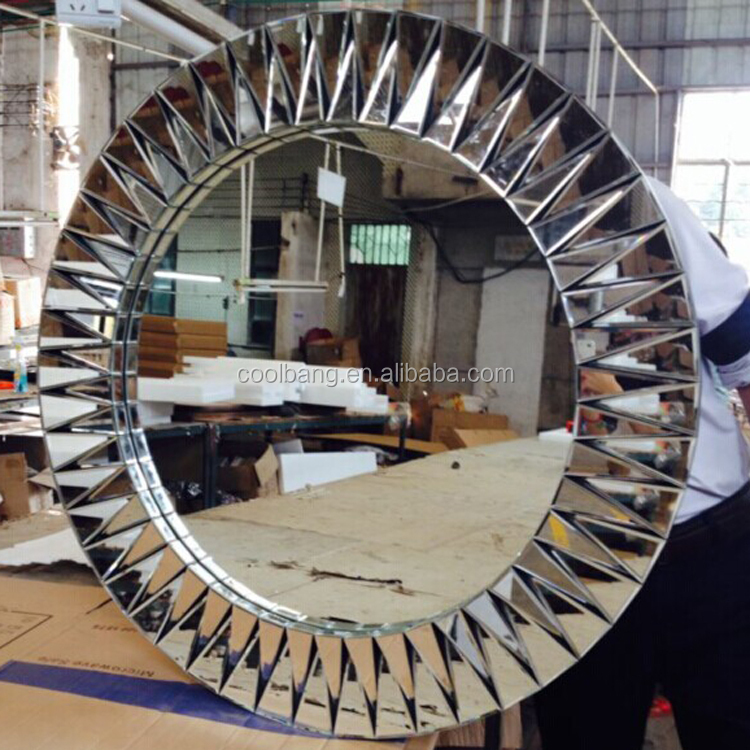 Fancy round decorative with hinged board designer wall mounted mirror
