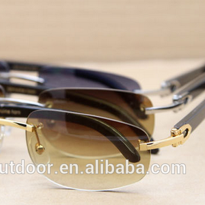 rimless metal buffalo horn frame sunglasses,hot selling dropshipping mirror laser logo goggles,made in china custom eyeglasses