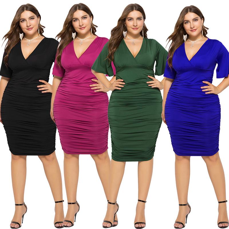 0b8a64660 Moda europea y americana Club Sexy cuello en V bueno Flexible mujeres  Boutique vestidos Plus tamaño