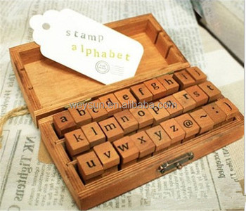 30pcs Vintage Wooden Lowercase Alphabet Letters Rubber Stamps Seal Set