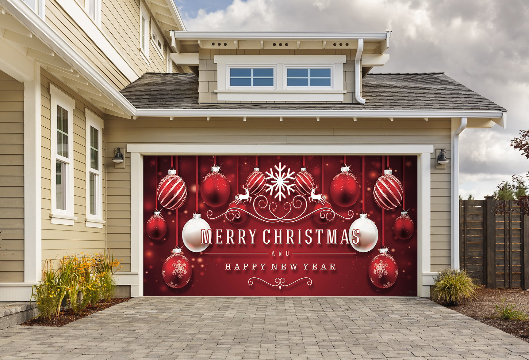 Outdoor Christmas Holiday Garage Door Banner Cover Mural Décoration 8 X16 Red Ornaments