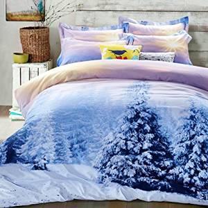 Bobbycool Winter Bedding Set 100% Cotton Duvet Cover Set Bed Sheet Set Forest Luxury Bedding Set Blue Kids Bedding Queen Size