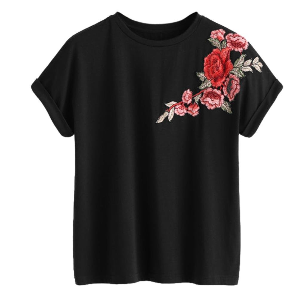 BCDshop 2018 Fashion Women Teen Girls Floral Embroidery T-Shirt Short Sleeve Tops
