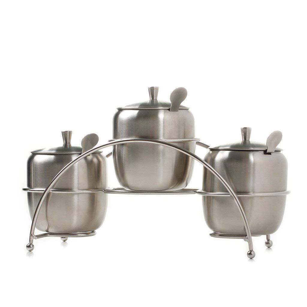 PLLP Seasoning Bottle Stainless Steel 304 Spices Cans Seasoning Tank Seasoning Box Set Seasoning Box Bottle Salt Tank (4 Assembly)