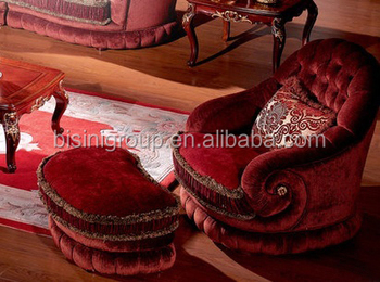 Hochwertig Noble French Versailles Red Velvet Couch With Stool, Luxury Royal Baroque  Upholstery Sofa Set BF11