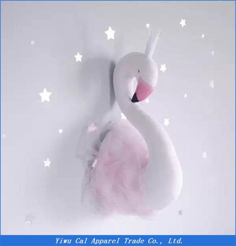 Hot Selling Stereo Kids Room Decoration New Design Home Decor 3D Pink White Swan Wall Hanging Decoration