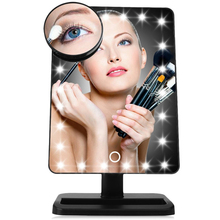 Travel Luminous Cosmetic Touch Screen On/Off with Removable 10x Magnifying Portable Table 20 Lighted LED Makeup Mirror