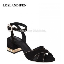 LOSLANDIFEN 2018 Brand New Runway Sandals Sapatos Femininos Real Photos  Elegant Ankle Strappy Party Wedding Heels Women Shoes 928f39cf3d26