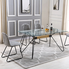 Modern alibaba metal solid wood dining table High Grade Dining Room Set Wooden Modern Dining Set Made in Malaysia