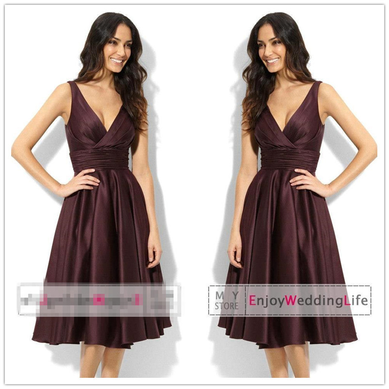 Get Quotations · Hot Sale Wedding Guest Dress Brown Satin Pleats V Neck  Tank Knee Length Plus Size Short 4e6e367976a1