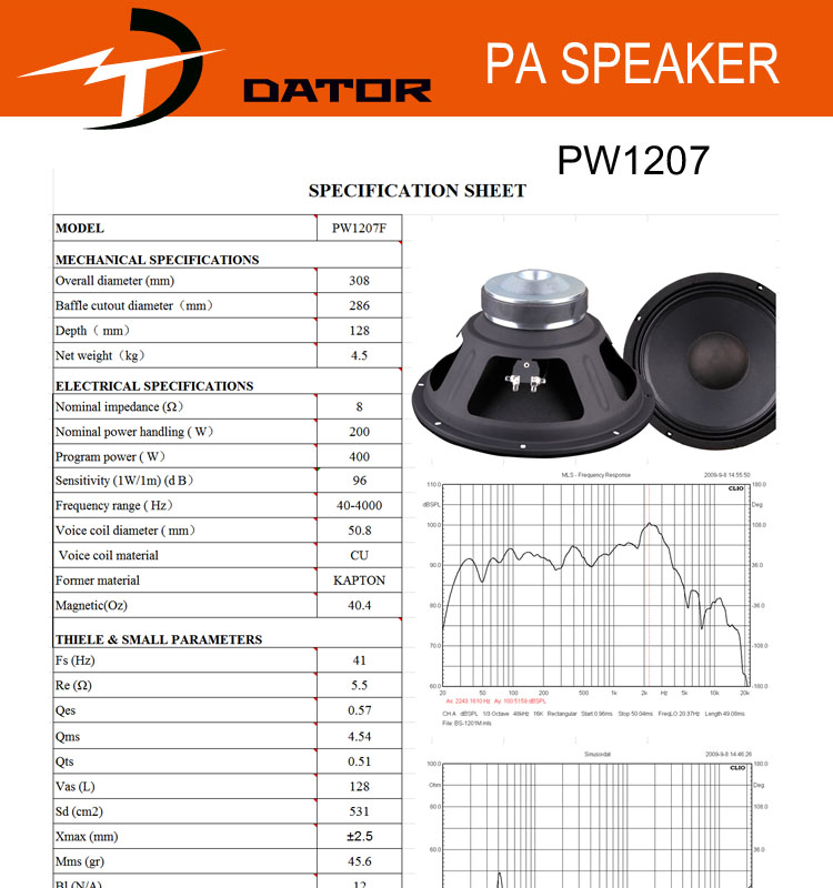 12 Inch Speakers Prices Subwoofer Professional Pa Speakers For 12 '' Pa 400  Woofer Speaker Driver For High Spl - Buy Passive Speakers,Portable Pa  Speaker,Outdoor Passive Pa Speakers Product on Alibaba.com