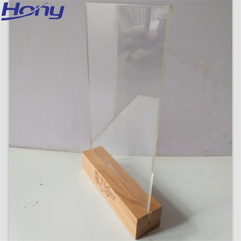 Vintage Beech Wood Picture Photo Card Holder Table Menu Stand with Acrylic Display Window