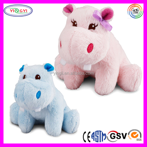 D655 Pink and Blue Couple Hippo Stuffed Plush Toy Cartoon Character Hippo
