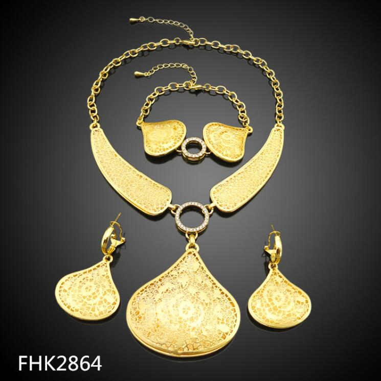 NEWEST 2018 jewelry sets african Saudi 24k gold plated african jewellery sets FHK2864
