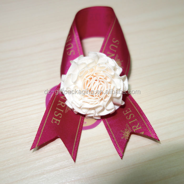 Customized Printed Satin Ribbon Bow and Flower with Hang Tag for Gift Wrapping