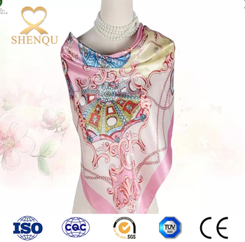 Fashion Online Shopping Square Scarf 100 Polyester Silk Feeling 35
