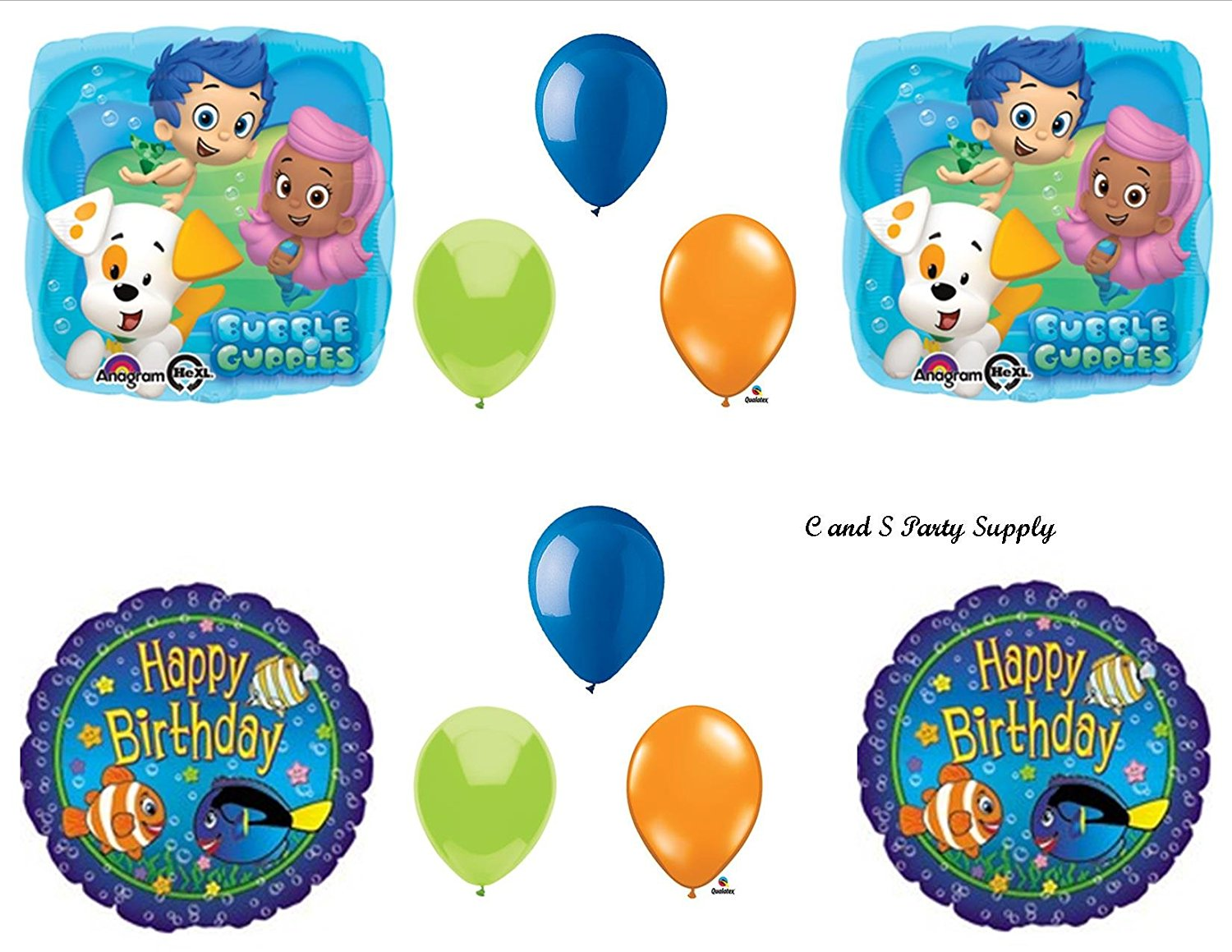 Buy Bubble Guppies Fish 10 PIECE Birthday Party Balloons Decorations ...