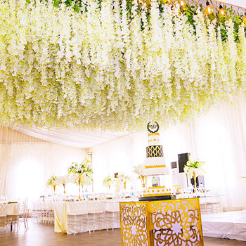 wedding party backdrop decoration artificial wisteria silk flowers