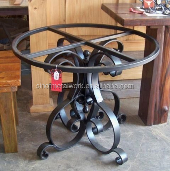 Small Metal Coffee Table Base For Glass And Stone Pedestal Wrought