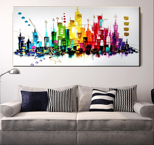 High Quality Home Decoration 100%Handmade Canvas Modern Building Wall Art Abstract Oil Paintings 24x40ins