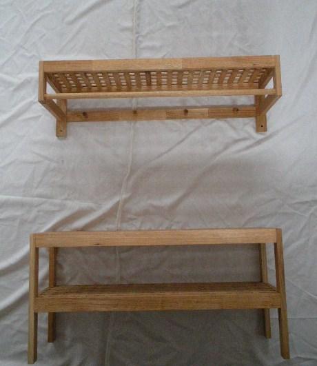 solide salle de bains en bois banc 2 niveaux grande tag re solide noyer huil kd autres. Black Bedroom Furniture Sets. Home Design Ideas