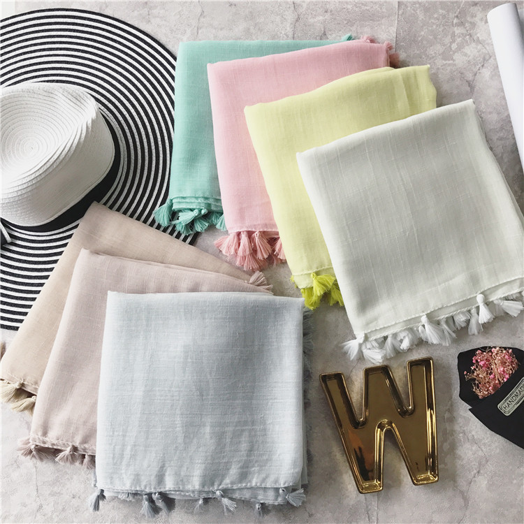 SF17211004 NEW Solid color monochrome slub cotton tassels Mori girl Japanese Style Summer Scarf Shawl